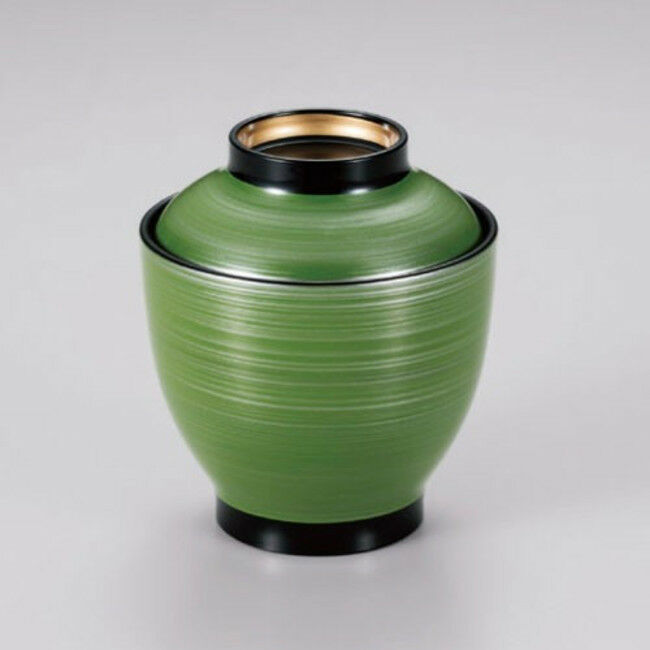Kozuiwan, Soup bowl green gold edge  Japanese Lacquer ware