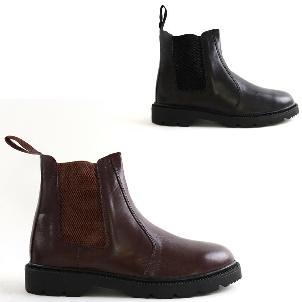 MENS NEW BLACK REAL LEATHER CHELSEA DEALER BOOTS THICK RUBBER SOLE SHOES SIZE