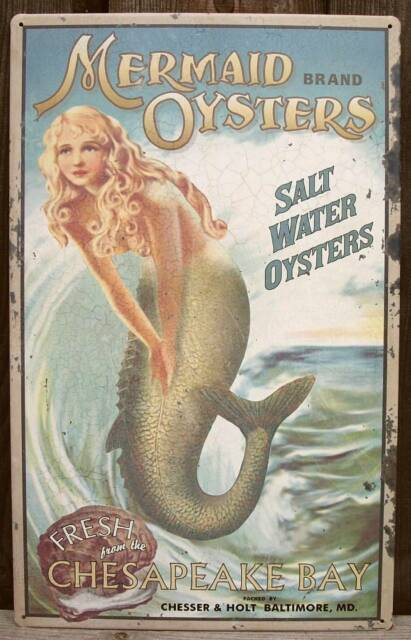 "16"" Vtg Rustic Style Mermaid Oysters Tin Advertising Sign-Beach/Home Wall Decor"