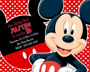 Details About Mickey Mouse Birthday Party Invitations Invites Personalized Custom