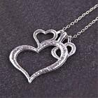 Women Fashion Classy 925 Sterling Silver Heart Couple love Pendant Necklace G GN