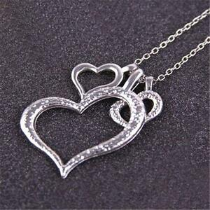 Women-Fashion-Classy-925-Sterling-Silver-Heart-Couple-love-Pendant-Necklace-G-IK