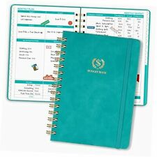 Budget Planner 12 Monthly Expense Tracker Notebook Faux Leather Green