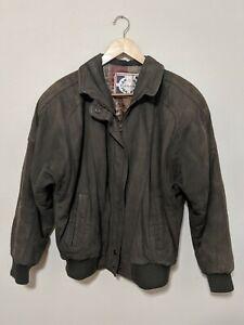 Vintage-Womens-Paris-Sport-Club-Genuine-Leather-Bomber-Jacket-Ribbed-Cuffs