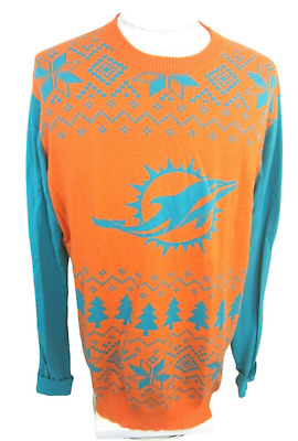 huge selection of 3f6b7 14fcf NFL TEAM APPAREL Mens Sweater Miami Dolphins Fair Isle sx XL light weight |  eBay