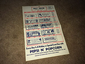 HOLLY SPRINGS MISSISSIPPI Movie Theatre Calendar Schedule Card 1964 MS Pepsi