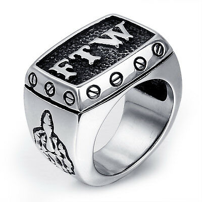 MENDINO Men/'s 316L Stainless Steel Letter FTW Outlaw Middle Finger Up Band Ring