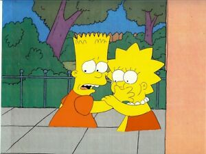 Simpsons-Bart-amp-Lisa-Season-1-Very-Rare-Production-Cel-amp-Photocopied-Background