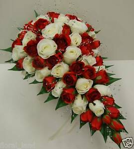 Teardrop Bouquet Red Cream White Rose Roses Pearls Wedding Bouquet