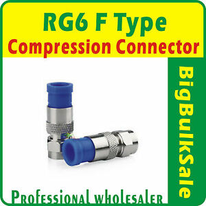 100-x-RG6-F-Type-Compression-Connector-Coax-FTA-Pay-Tv-Satellite-Free-Postage