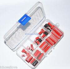 40Pcs 10-value 2.54mm Pitch 1-10 Bit Ways Slide Type Red Switch Box Kit Set