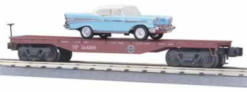 NEW IN THE BOX MTH SOUTHERN PACIFIC FLAT CAR W  blueE CHEVY BELAIR 33-7602