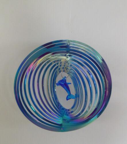 Delphin Windspiel blau mehrfarbig schimmernd Windspirale Garten Balkon