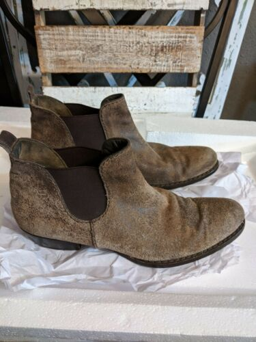 HENRY BEGUELIN BROWN SUEDE & LEATHER BIKER BOOT  3