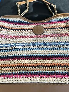 2262b8d1117 Tory Burch Marion Woven Tote Bag Multi Color Straw & Leather. Used ...