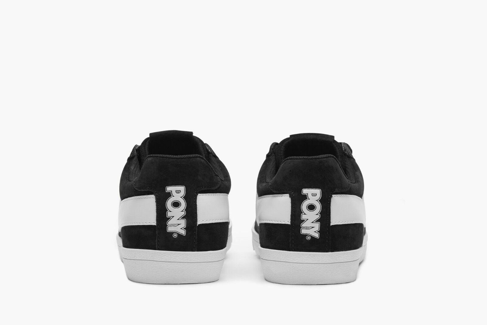 Neuf Femme PONY Classique Noir Blanc Lacets Daim Cuir Bas Coupe Toile Chaussures
