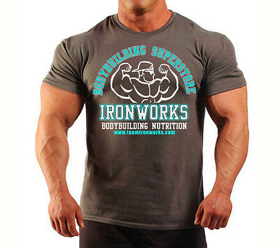CHARCOAL TEAM IRONWORKS BODYBUILDING T-SHIRT WORKOUT GYM CLOTHING FITNESS  J-108