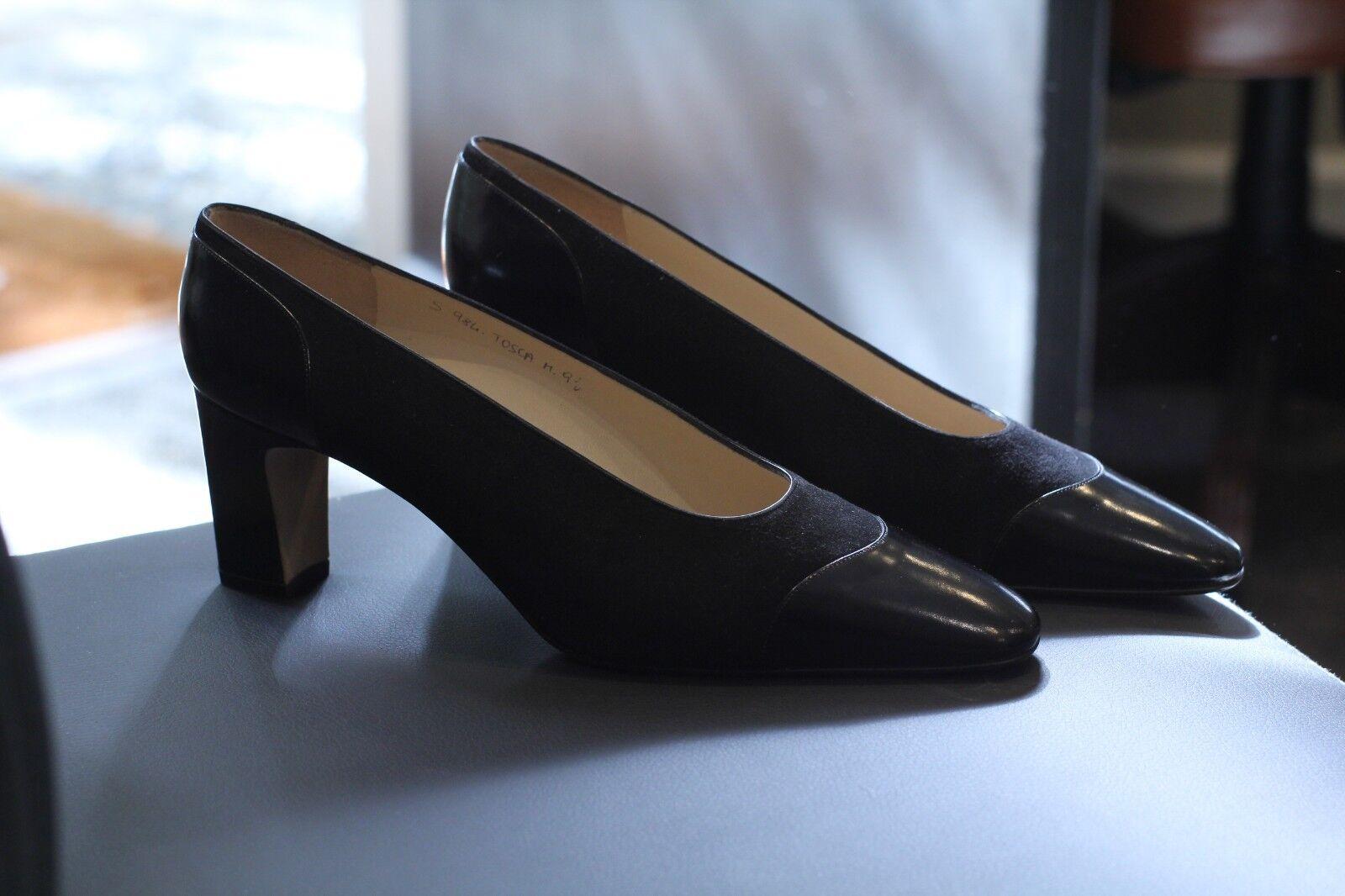 Sylvia Fiorentina Resbalón en Zapatos Zapatos Zapatos del diseñador Bombas De Gamuza Negra Hecha En Italia Talla 9.5  estilo clásico
