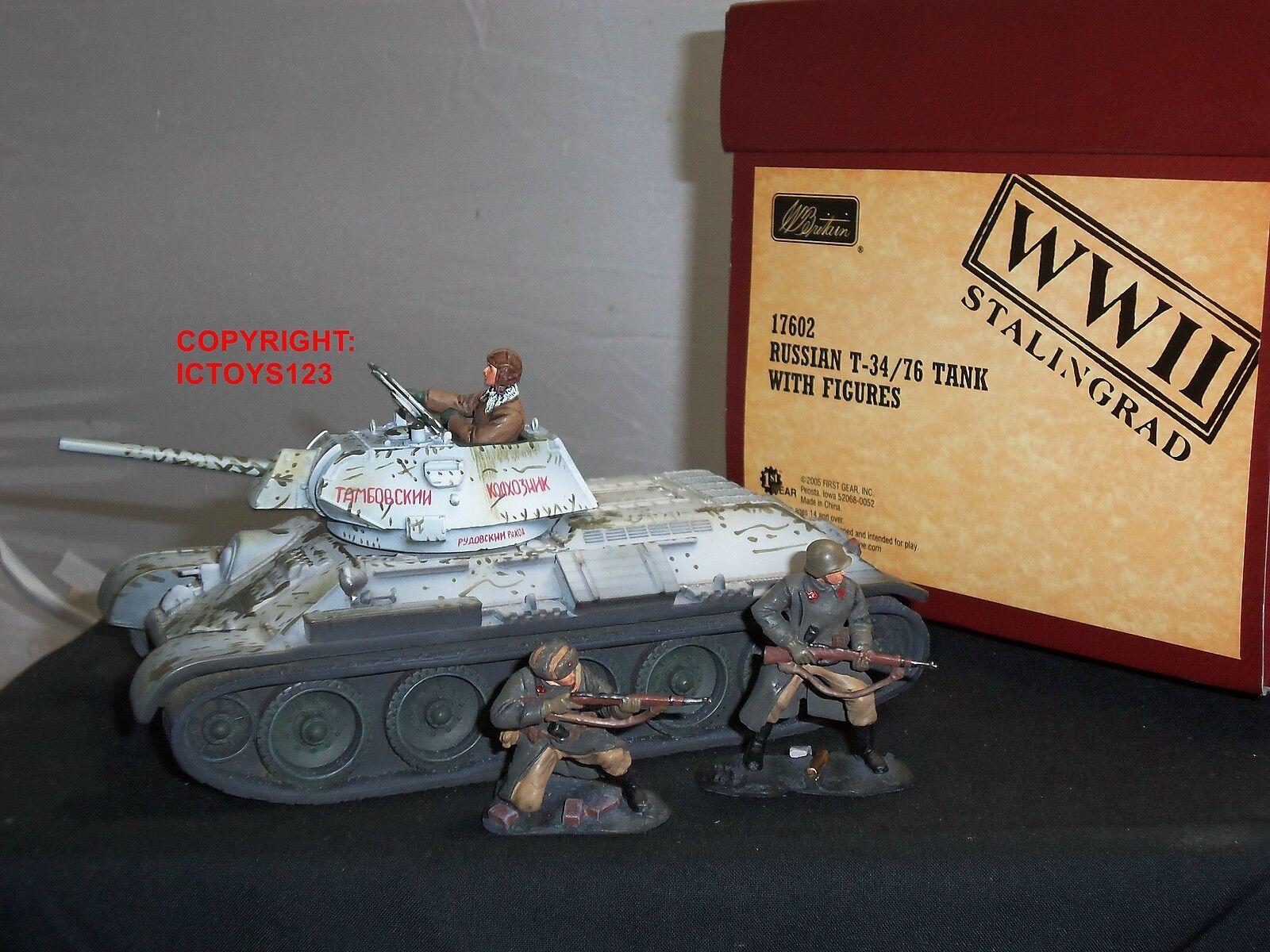 BRITAINS 17602 STALINGRAD RUSSIAN T-34 76 WW2 TANK + CREW METAL TOY SOLDIER SET