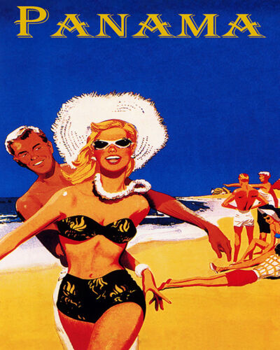 POSTER PANAMA YOUTH BEACH FUN SUN VACATION SUMMER TRAVEL VINTAGE REPRO FREE S//H