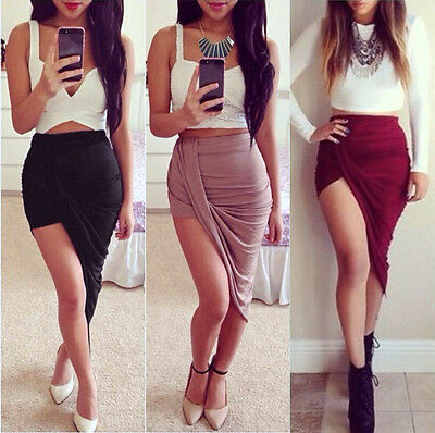 Fashion Draped Asymmetrical High Waisted Stretch Bodycon Low Mini Maxi Skirts