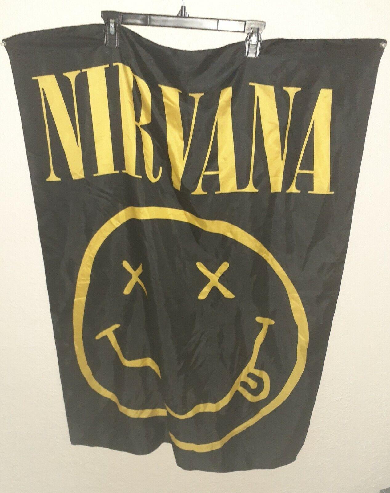 Nirvana Smiley Face Logo Print Sheer Scarf Made in Italy