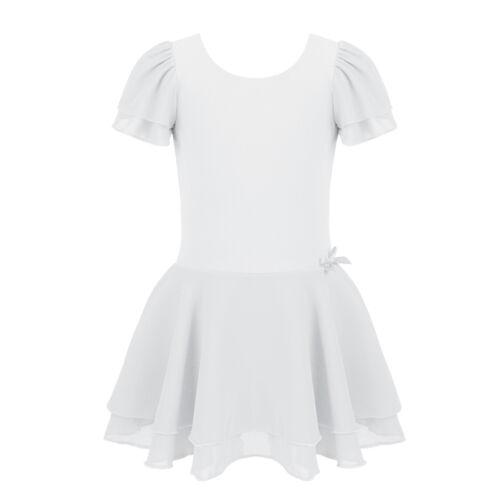 Kid Girls Gymnastics Ballet Dance Leotard Skating Dress Tutu Skirt Sport Costume