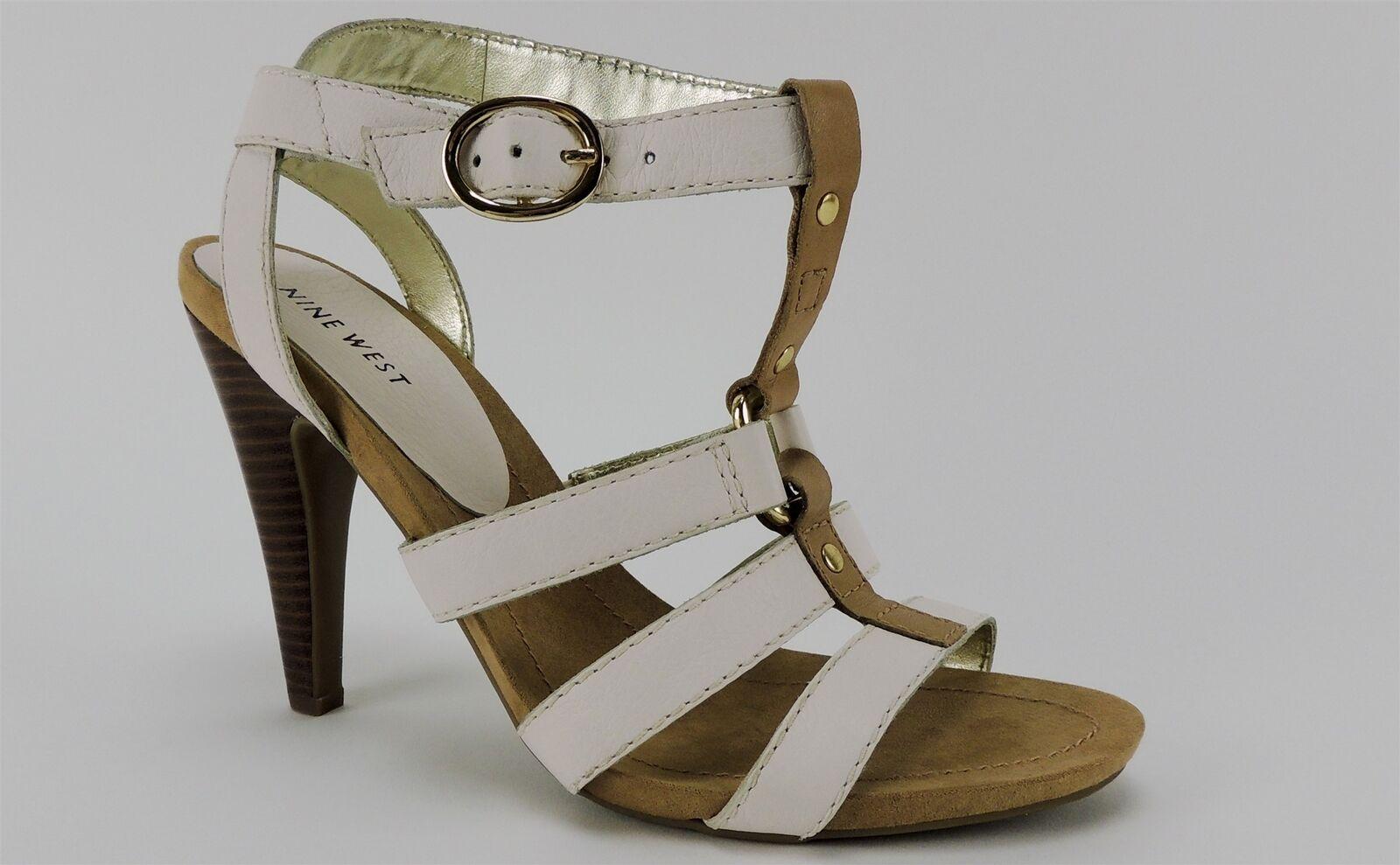 Nine West Women's Stellen Caged High Heel Sandals Buttermilk Leather 11 (B, M)