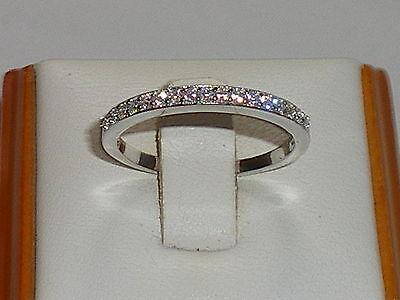 Ladies 925 Solid Silver Brilliant Cut 17 Stone White Sapphire Half Eternity Ring