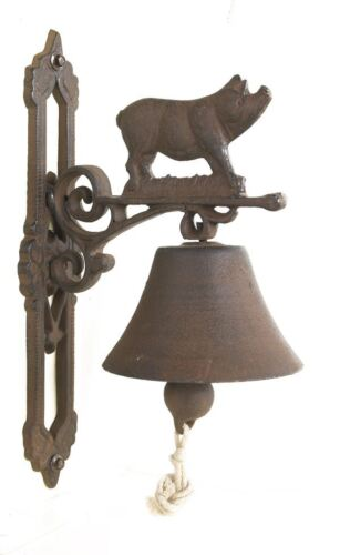 Rustic Brown Cast Iron Pig Garden Bell With Rope Lanyard