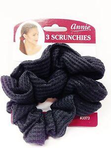 annie 3 scrunchies black ponytail holder 3373 hair