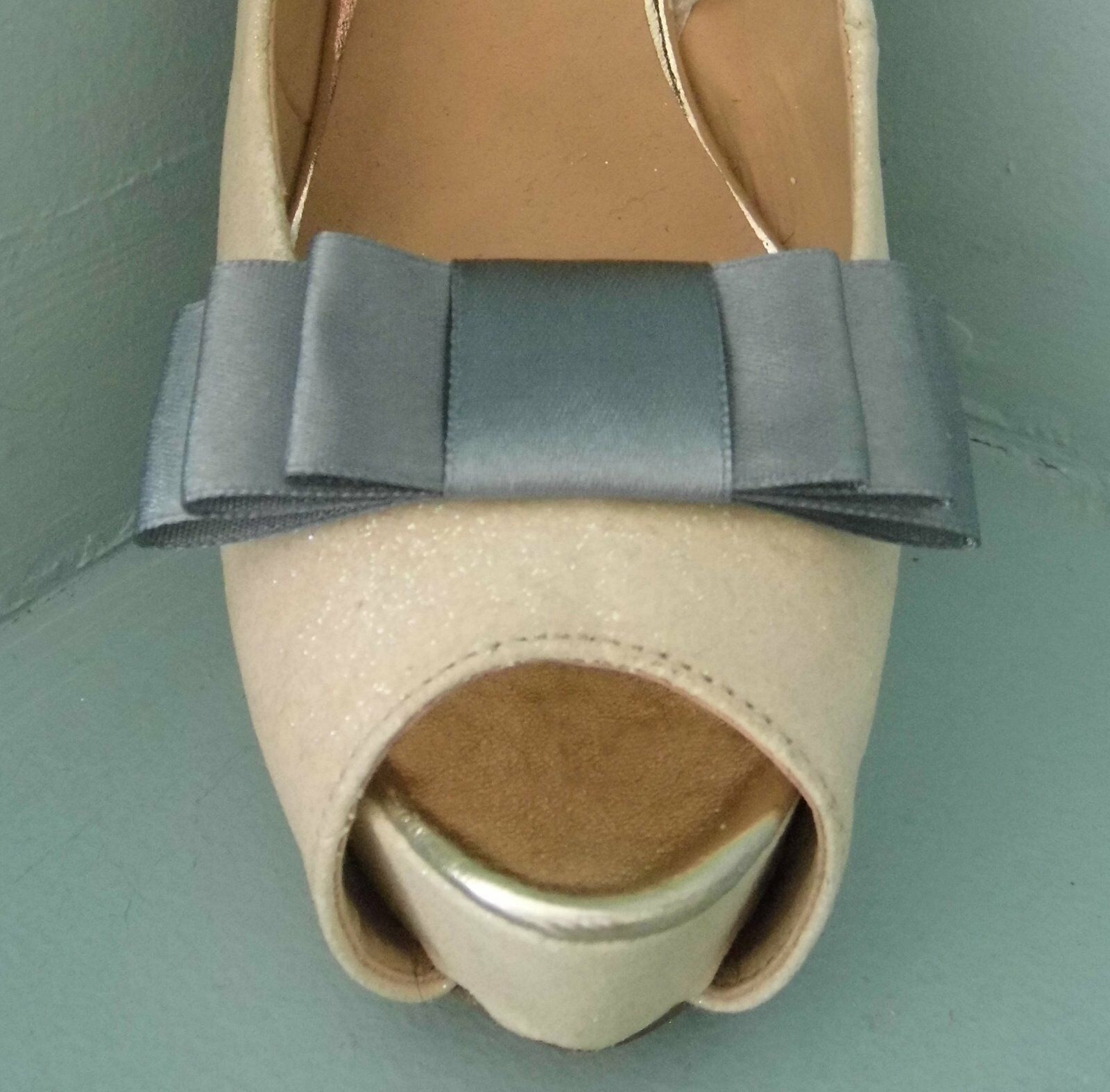 2 Silver Grey Triple Bow Clips for Shoes - other colours on request
