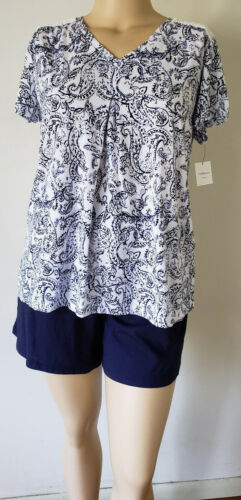 NWT Women Short PJS Pajamas Cotton Blend Knit Navy Blue Croft /& Barrow S//S