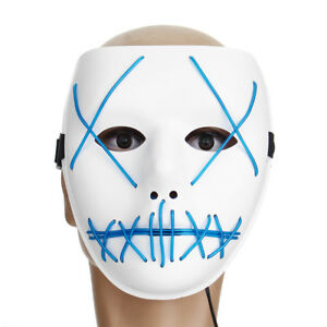 Motorcycle Halloween Horror Costume Light Up Face Mask Rave Cosplay 4 Ebay