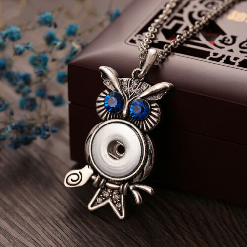 Rhinestone Animal Owl Metal Snap Button Necklace Fit 18mm Snap Buttons Pendant