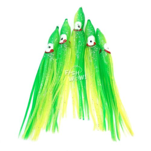 "1,20,30,60-120pc 4.75/"" Fishing Squid Skirts Octopus Trolling Hoochies Lure lot"