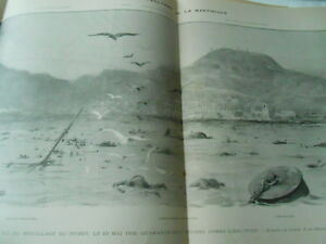 Grande Illustration Le Cataclysme De La Martinique Panorama Print 1902 Vif Et Grand Dans Le Style