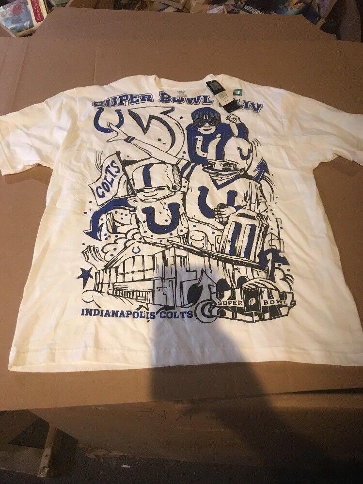 Indianapolis Colts NFL Super Bowl XLIV Fan Mania Graphic Tee Shirt L Reebok