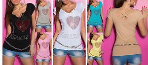jersey-top-femme-t-chemise-manche-courte-034-amour-amp-strass-034-coton-elastique