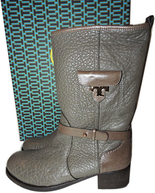 Tory Burch Leona Leather Riding Boot Flat Equestrian Midcalf Booties 9.5
