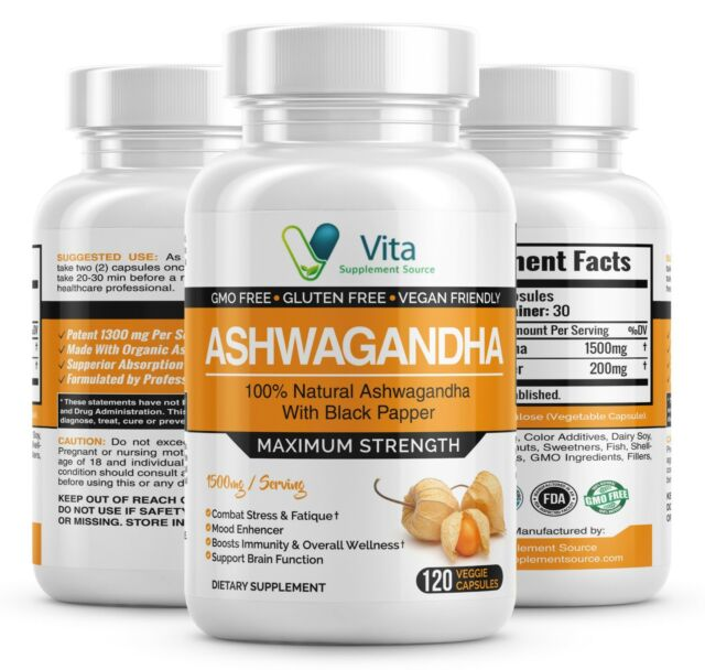 Ashwagandha Root Powder 1500mg With Black Pepper Extract, 120 Vegetable Capsules