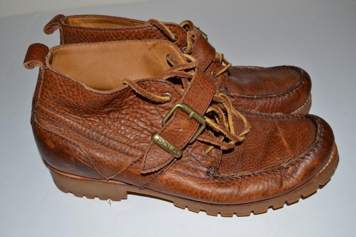 POLO RALPH LAUREN BROWN TAN LEATHER MID TOP BELT STRAP BOOT SHOES MENS SIZE 9D 9