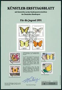 BRD-KUNSTLER-ETB-1991-15-JUGEND-SCHMETTERLINGE-KUNSTLER-ERSTTAGSBLATT-LTD