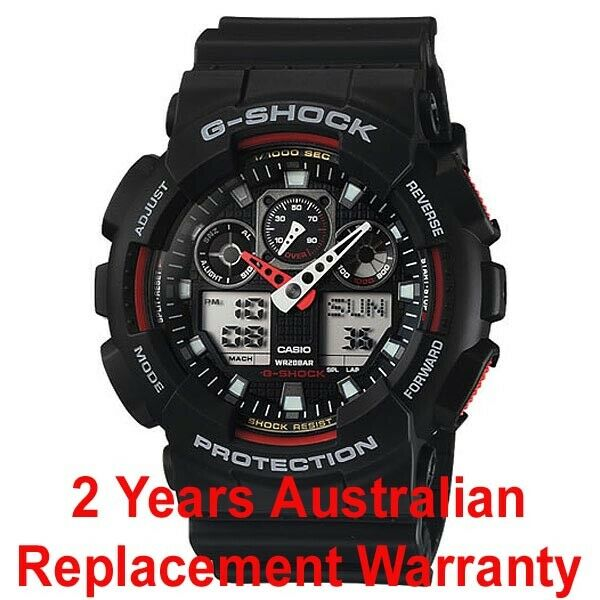 CASIO G-SHOCK MEN WATCH GA-100-1A4 BLACK x RED GA100-1A4DR 2-YEARS WARRANTY