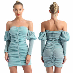 Women's Sparkling Puff Sleeve Off-shoulder Ruched Mini Bodycon Party Club Dress