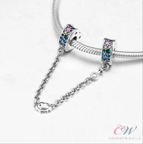 Cadena De Seguridad Arco Iris Cristal arcos corazón genuino 925 Plata