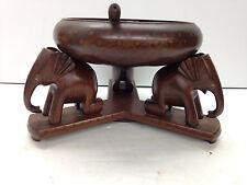 Wooden Elephant Pedestal Nut Bowl Tray w/ Mallet Inlaid Wood
