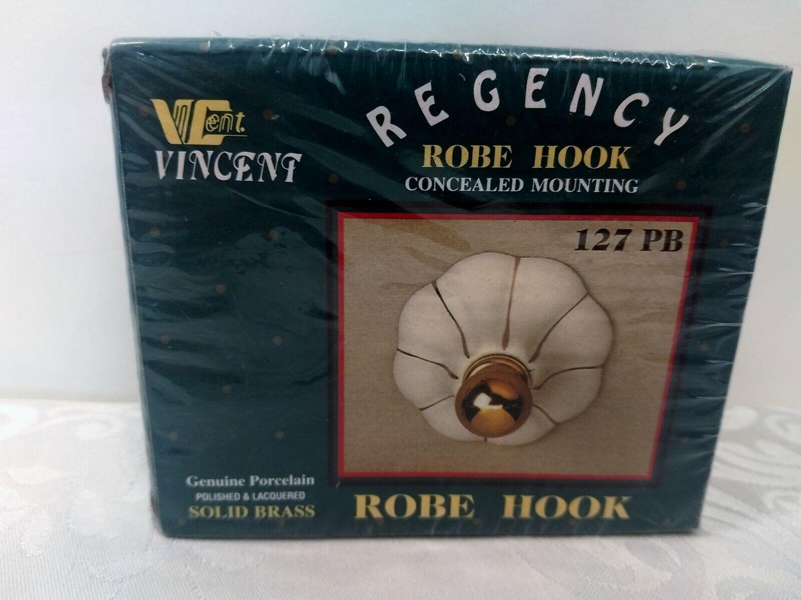 Vincent Regency Robe Towel Hook Solid Brass White Genuine Porcelain NEW!
