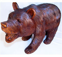 Black Forest Style Large Bear Sculpture 65cm Floor Standing Animal Wood Carving
