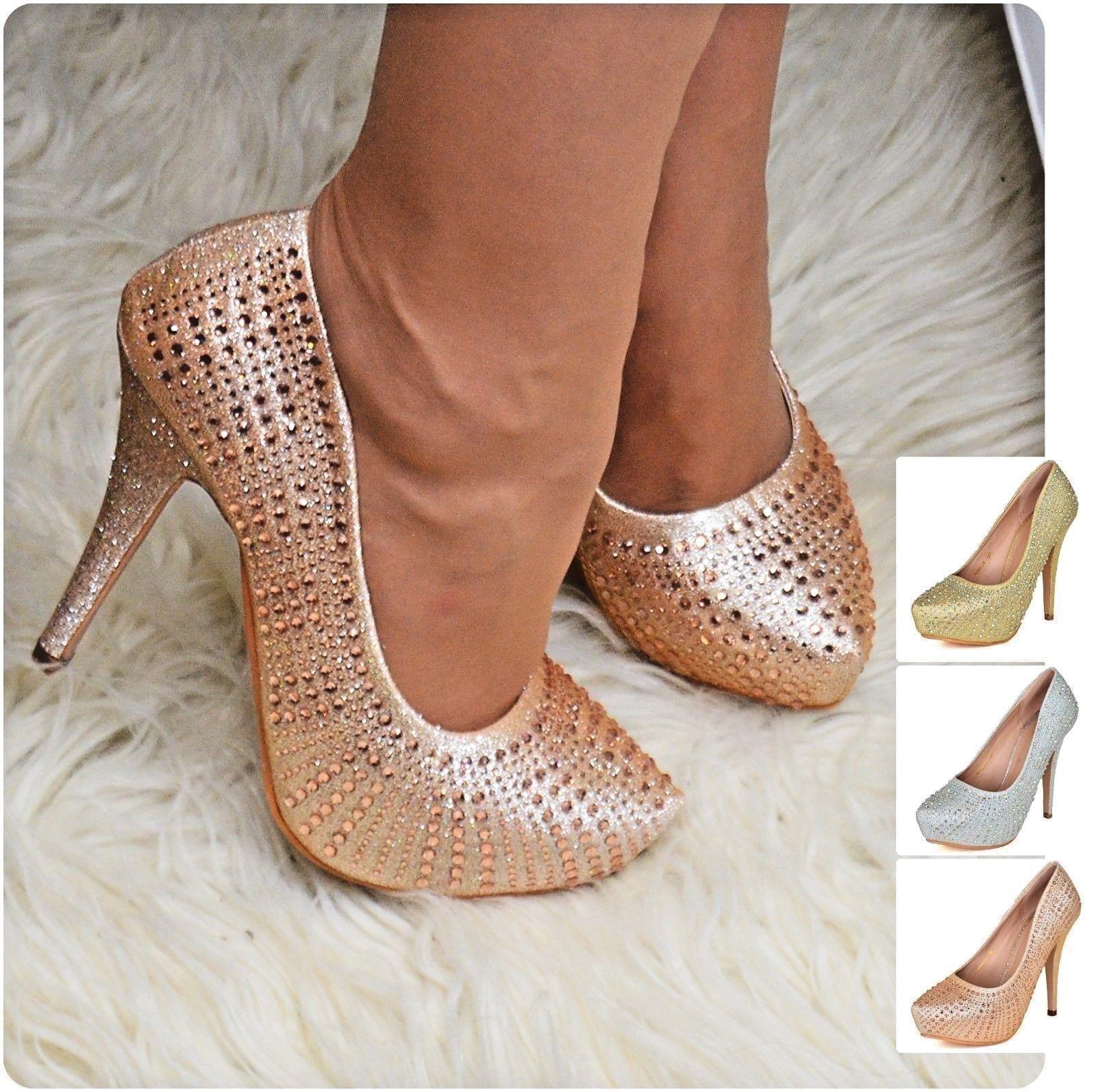 Women Platform Shoes Diamante Stiletto High Heel Evening Courts Party Pumps Size
